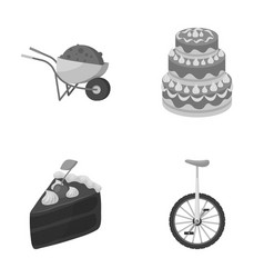 Mine cooking and other monochrome icon in cartoon vector