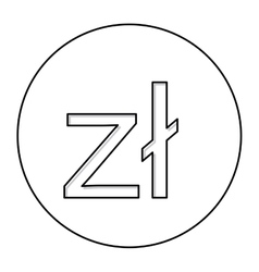 Monochrome contour with currency symbol of poland vector