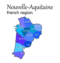 Nouvelle-aquitaine french region map vector