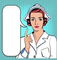 nurse indicates the message of the of a pop vector image