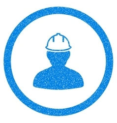 Person in hardhat rounded icon rubber stamp vector