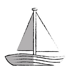 Sailboat marine isolated icon vector