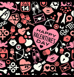 seamless pattern of scattered valentines day icons vector image