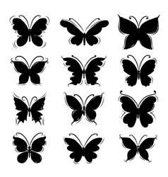 Set of butterfly silhouettes for your design vector image