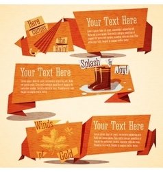 Set of cute autumn vintage stylized banners vector