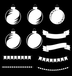 set of flat silhouettes of black and white vector image