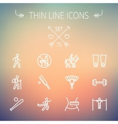 Sports thin line icon set vector image