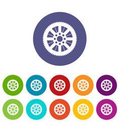 Sprocket from bike set icons vector