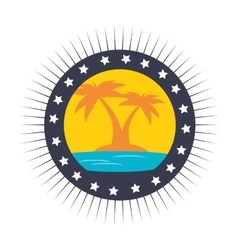 Trees palms emblem icon vector