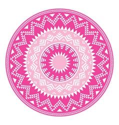 Tribal folk aztec geometric pink pattern in circle vector image vector image