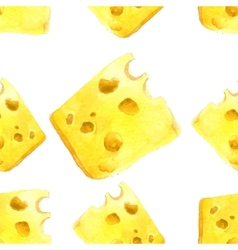 watercolor cheese seamless vector image vector image