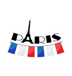 word Paris with bunting vector image