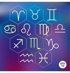 Zodiac signs into hexagonal frames vector
