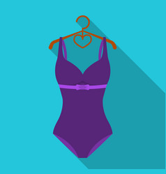bright purple swimsuit with bows for girlsbeach vector image