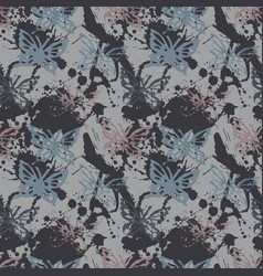 Grunge seamless pattern with butterflys vector