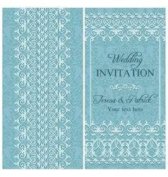 Baroque wedding invitation blue vector