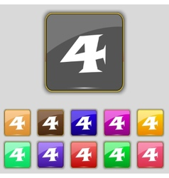Number four icon sign set of coloured buttons vector