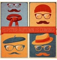 Set of autumn dressed hipster faces on the grunge vector