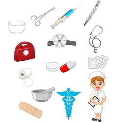Cartoon collection of medical devices with nurse vector