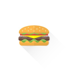 Color fast food hamburger icon vector