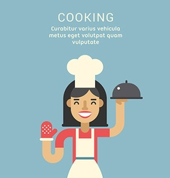 Cooking concept female cartoon character standing vector