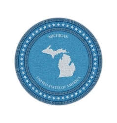 Label with map of michigan denim style vector