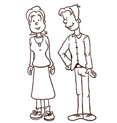 Simple black and white mom and dad vector