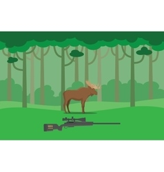 Moose hunter in the bush forest tree vector