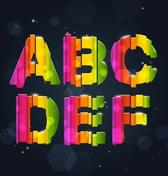 Abstract rainbow font a-f vector