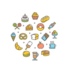Bakery round design template thin line icon vector