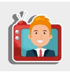 Person within tv isolated icon design vector