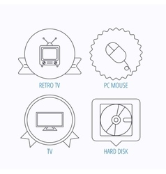 Hard disk pc mouse and retro tv icons vector