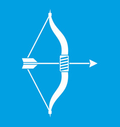 Bow and arrow icon white vector