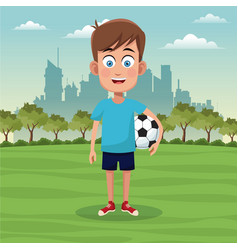 boy sport activity park city bakcground vector image