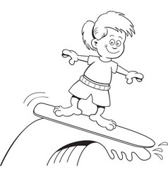 Cartoon girl surfing vector image vector image