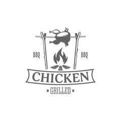 chicken grill emblem vector image