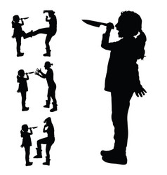 Child with a knife in hand silhouette and vector