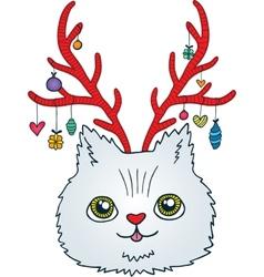 Cute cartoon Christmas cat with deer horns vector image