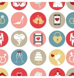 Cute flat wedding icons in seamless pattern vector image
