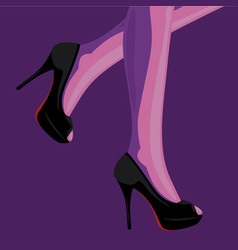 fashion of slim female legs in black vector image vector image