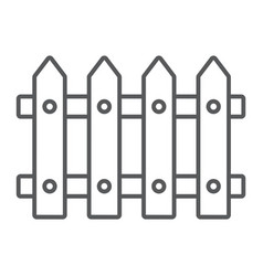 Fence thin line icon wooden and architecture vector
