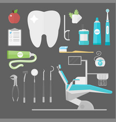Flat health care dentist symbols research medical vector