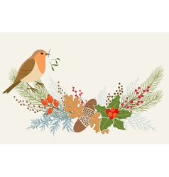 Floral Christmas decoration vector image vector image