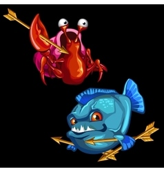 Funny red crab and blue piranha with golden arrows vector