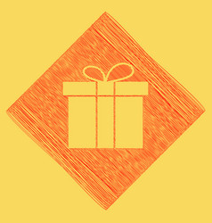 Gift box sign red scribble icon obtained vector
