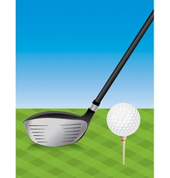 Golf Driver and Teed Ball vector image vector image