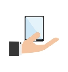 Hand holding modern cellphone and icon vector