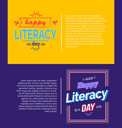 happy literacy day posters set vector image vector image