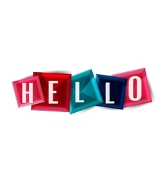 Hello word button banner or squares vector image