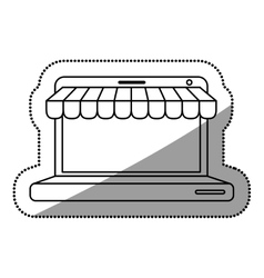 Isolated laptop and ecommerce design vector